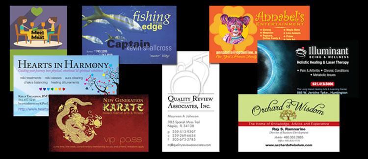 Various business cards designed by Kolleen Shallcross