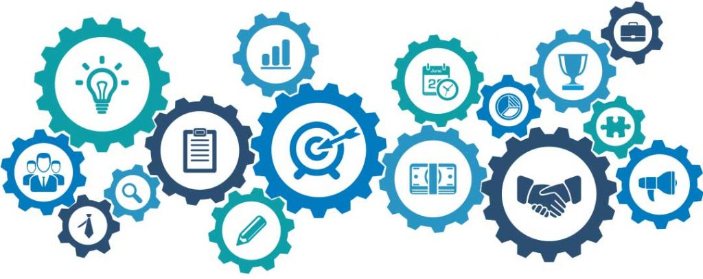 graphic of cog wheels interacting together with images of digital marketing icons inside each cog. It shows how they all work together to create a digital marketing strategy