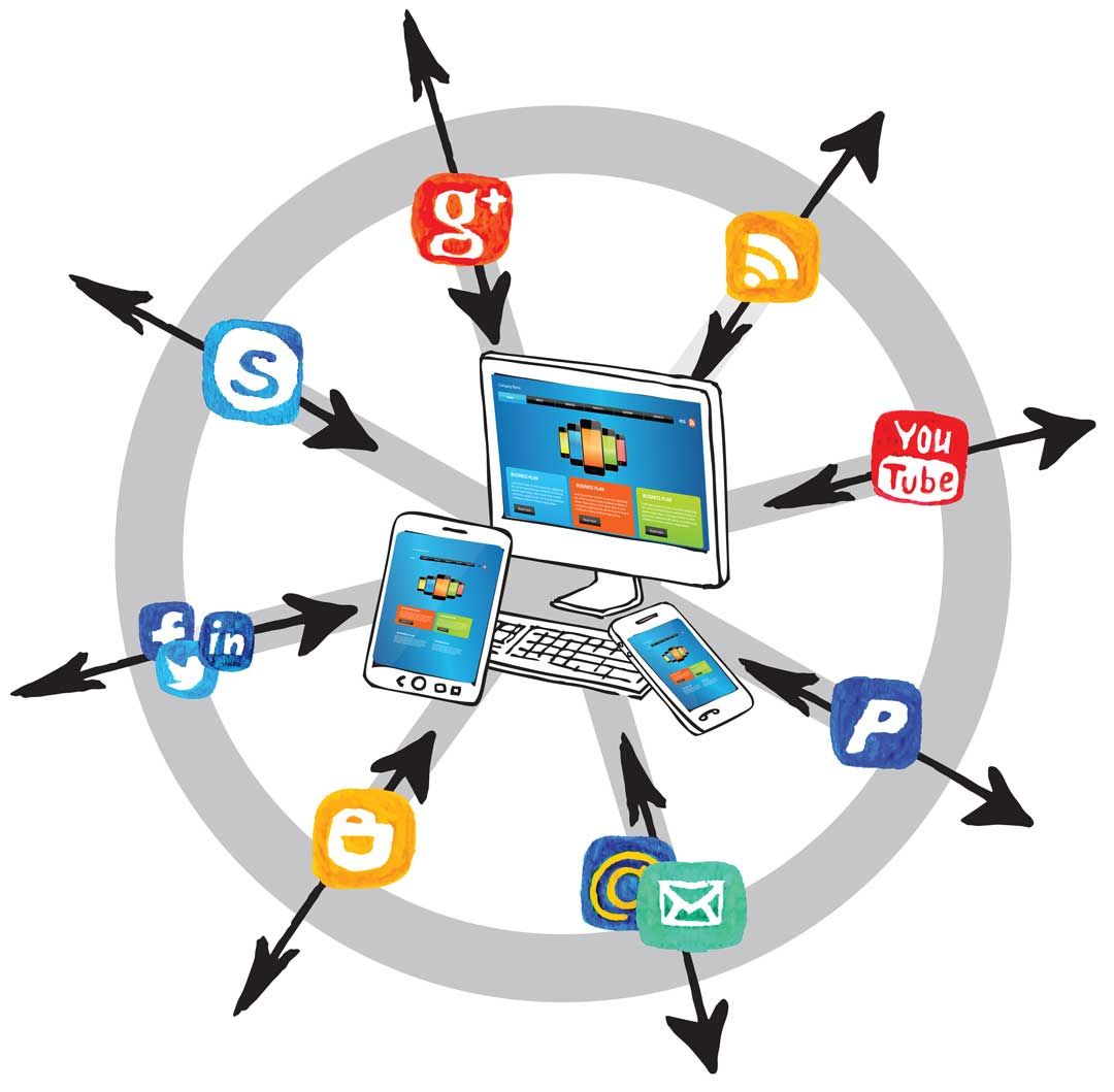 Graphic of a wagon wheel with your website in the middle and other pages coming and going on the spokes