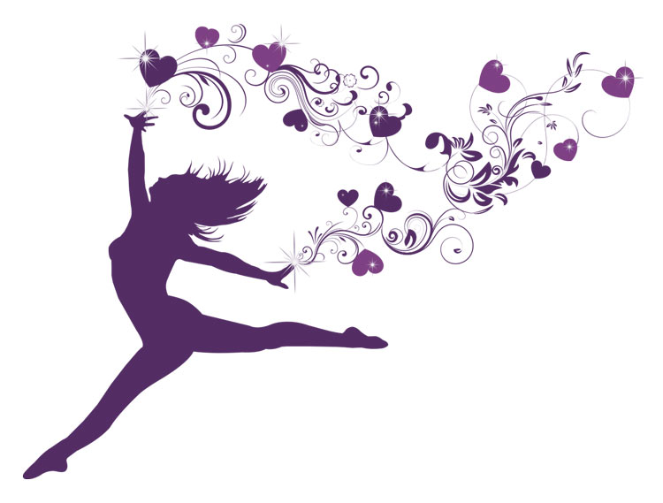 Hearts in Harmony Logo of woman leaping in freedom with trails of hearts following her fingertips