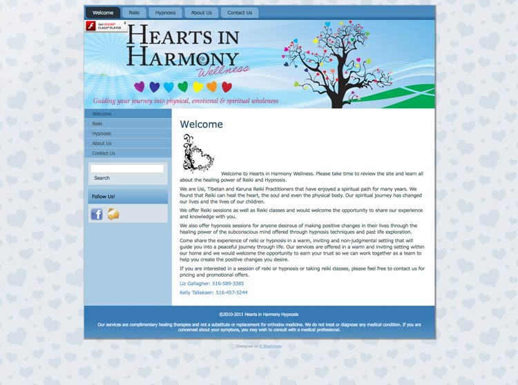 old website of hearts in harmony welness