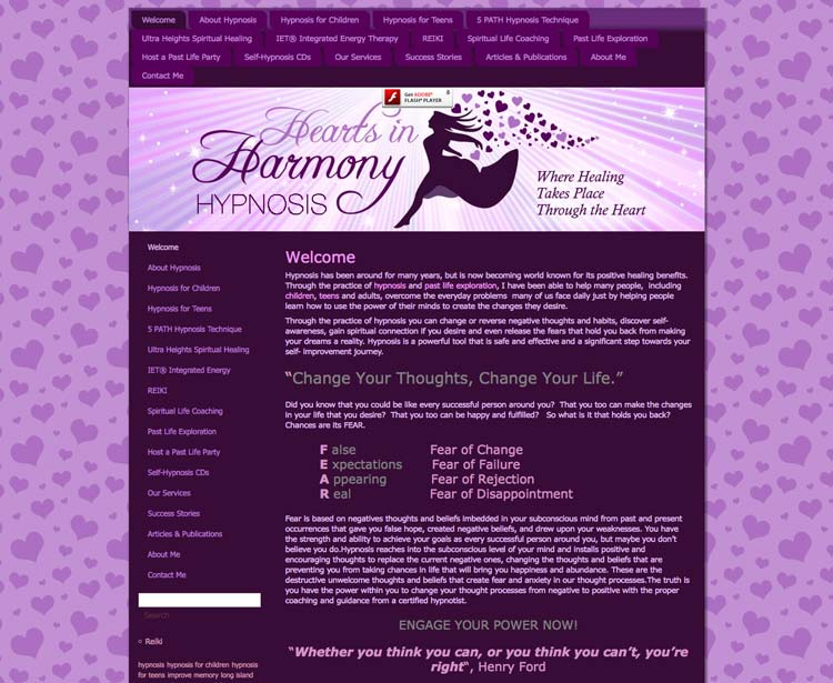 old website of hearts in harmony hypnosis