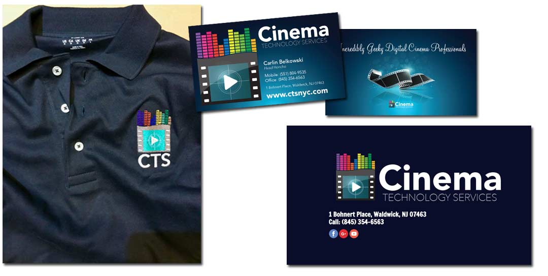 various pieces of branded items for CTSNYC. Shirt with logo, business card, and flyer